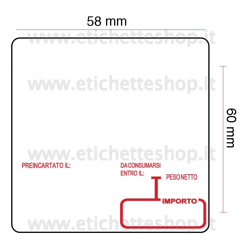 Etichette Termiche Rotolo per Bizerba 750 Pezzo Guaina 40 mm 58 x 60 mm